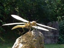 在绝种公园的木头的巨型蜻蜓雕塑在意大利 库存照片