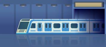 在继续前进驻地的隧道的铁路地铁或地铁运输 Passanger现代电高速火车 地下 库存例证