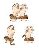 在绳索例证的手 向量例证