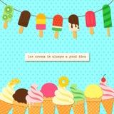 在绳索的在工艺样式的冰淇凌和边界 在减速火箭的背景的鲜美明亮的冰淇凌棍子和锥体夏天为 向量例证