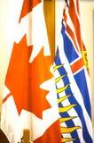 在维多利亚,加拿大的Camadian旗子 免版税库存照片