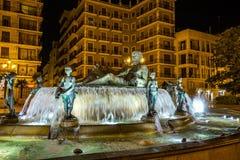 在维尔京圣玛丽,巴伦西亚,西班牙的正方形的Turia喷泉 图库摄影