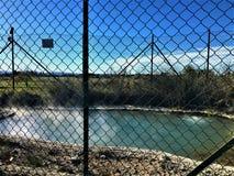 在维泰博附近的自然温泉,意大利,Bagnaccio热量浴  免版税图库摄影