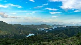 在维港,太平山,香港的日落 免版税图库摄影