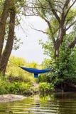 在绿叶的蓝色吊床在河附近 免版税库存图片
