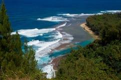 在绿松石岸的波浪 免版税库存照片