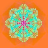 在绿松石,蓝绿色,桔子,倒挂金钟的明亮的鞋带花坛场 在桔子的抽象背景 免版税图库摄影