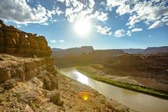 在绿河乐队的黄昏光犹他` s canyonlands的 库存照片