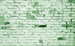 在绿色口气的老被风化的砖墙样式 库存图片