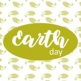 在绿色叶子背景的地球日海报 皇族释放例证