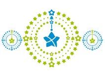 在绿色和蓝色的花圈 时髦的xmas装饰 平的传染媒介设计 皇族释放例证