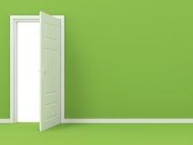 在绿色墙壁的空白被开张的门 库存照片