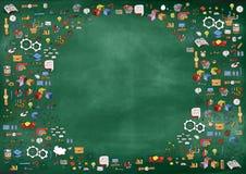 在绿色委员会背景的学校用品 r r o 向量例证