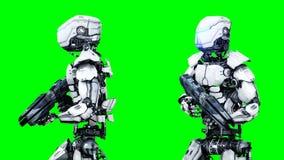 在绿色屏幕上的未来派机器人孤立 现实3d回报 库存例证