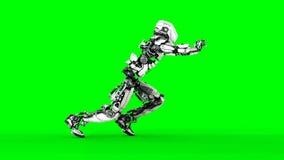 在绿色屏幕上的未来派机器人孤立 现实3d回报 皇族释放例证