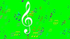 在绿色屏幕上的色的音乐动画 飞行五颜六色的笔记的音乐,白色高音谱号标志在前景漂浮 库存例证