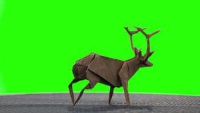 在绿色屏幕上的Origami鹿 影视素材