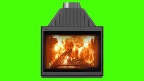 在绿色屏幕上隔绝的壁炉的燃烧的木头 使用绿色屏幕,为您自己的背景完善 股票视频