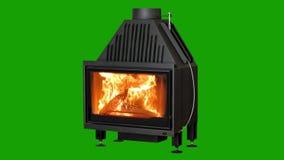 在绿色屏幕上隔绝的灼烧的壁炉 色度关键背景 皇族释放例证