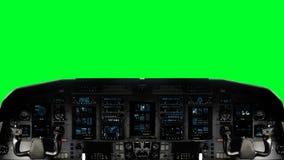在绿色屏幕背景的未来派太空飞船驾驶舱在一个绿色屏幕上 向量例证