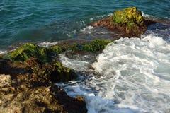在绿色岩石岸和泡沫附近的美好的海波浪背景 库存图片