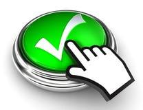 在绿色按钮的好复选标记符号 免版税库存照片