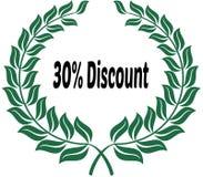 在绿色月桂树贴纸标签的30%折扣 库存图片