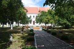 在绿色树后的宫殿 免版税库存图片