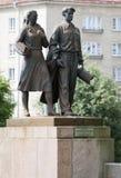 在绿色桥梁的雕塑在维尔纽斯 库存图片