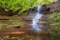 在绿色森林Cascad中间的平静的瀑布风景 免版税库存照片