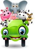 在绿色汽车的逗人喜爱的动物 免版税图库摄影