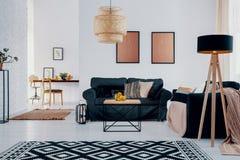 在绿色沙发上的桃红色海报在与被仿造的地毯和灯的明亮的公寓内部 实际照片 免版税库存图片