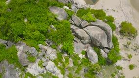 在绿色海岛上的鸟瞰图大岩石在海 在海使从飞行寄生虫在岩质岛和含沙岸的看法环境美化 股票录像