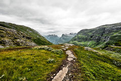 在绿色牧场地的道路西挪威山的有雪的在山顶和黑暗的多云天空 免版税库存照片
