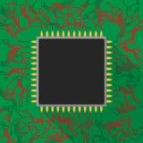 在绿色电路板的微集成电路处理器有红色ligh的 库存图片