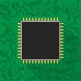 在绿色电路板的微集成电路处理器 库存图片