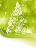 在绿色的圣诞节半音结构树。 EPS 8 库存照片