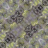 在绿色的抽象三角马赛克样式,灰色,黄色 库存照片