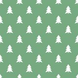 在绿色背景样式的白色圣诞节快乐树 库存例证