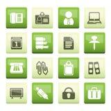 在绿色背景的企业和办公室象 免版税库存图片