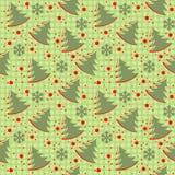 在绿色背景的冬天圣诞节无缝的样式与Chr 库存照片