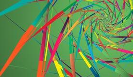 在绿色背景的抽象多色样式 光芒型转动的形状 向量例证