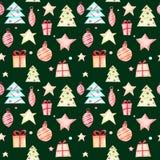 在绿色背景的无缝的圣诞节样式 向量例证