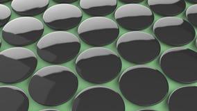 在绿色背景的空白的黑徽章 库存照片