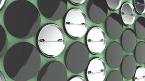 在绿色背景的空白的黑徽章 图库摄影