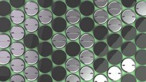 在绿色背景的空白的黑徽章 库存图片