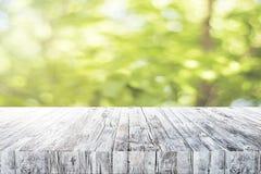 在绿色背景的空的书桌 库存图片
