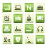 在绿色背景的计算机设备和周围象 免版税图库摄影