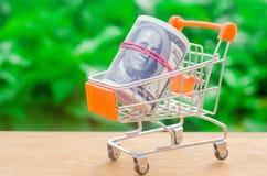 在绿色背景的超级市场台车 在网上购物的概念 安置市场,商务,互联网商务 预定 免版税库存图片