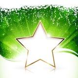 在绿色背景的金黄圣诞节星形 皇族释放例证